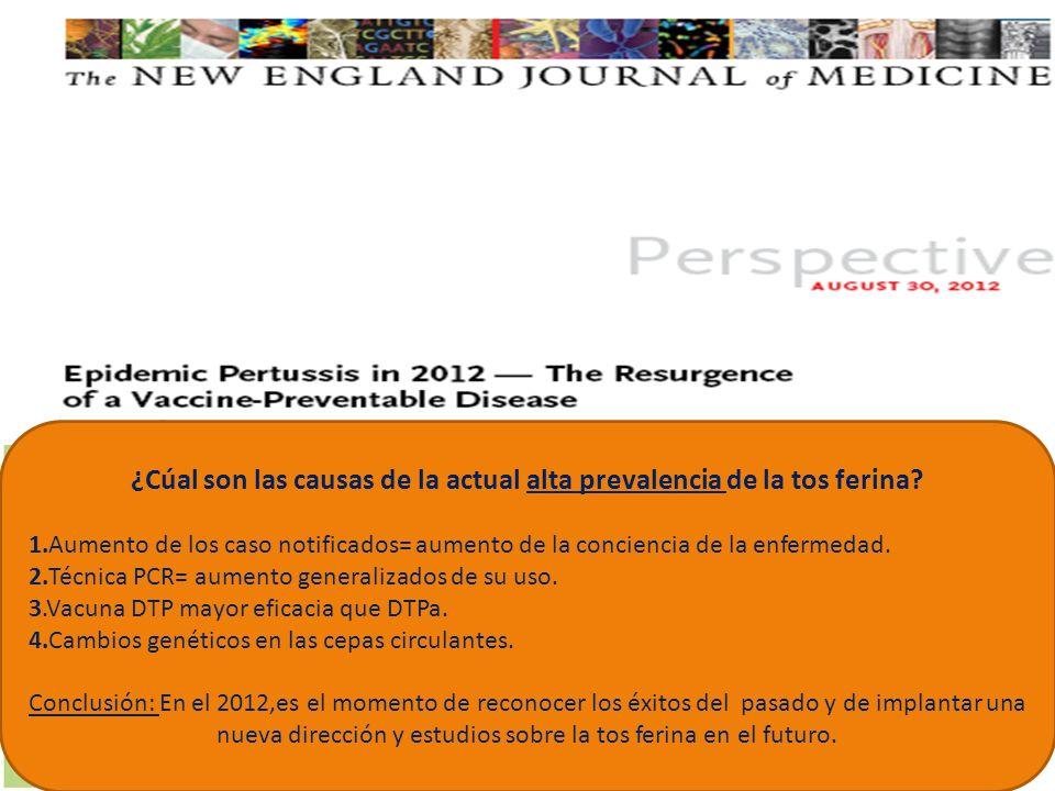 ¿Cúal son las causas de la actual alta prevalencia de la tos ferina? 1.Aumento de los caso notificados= aumento de la conciencia de la enfermedad. 2.T