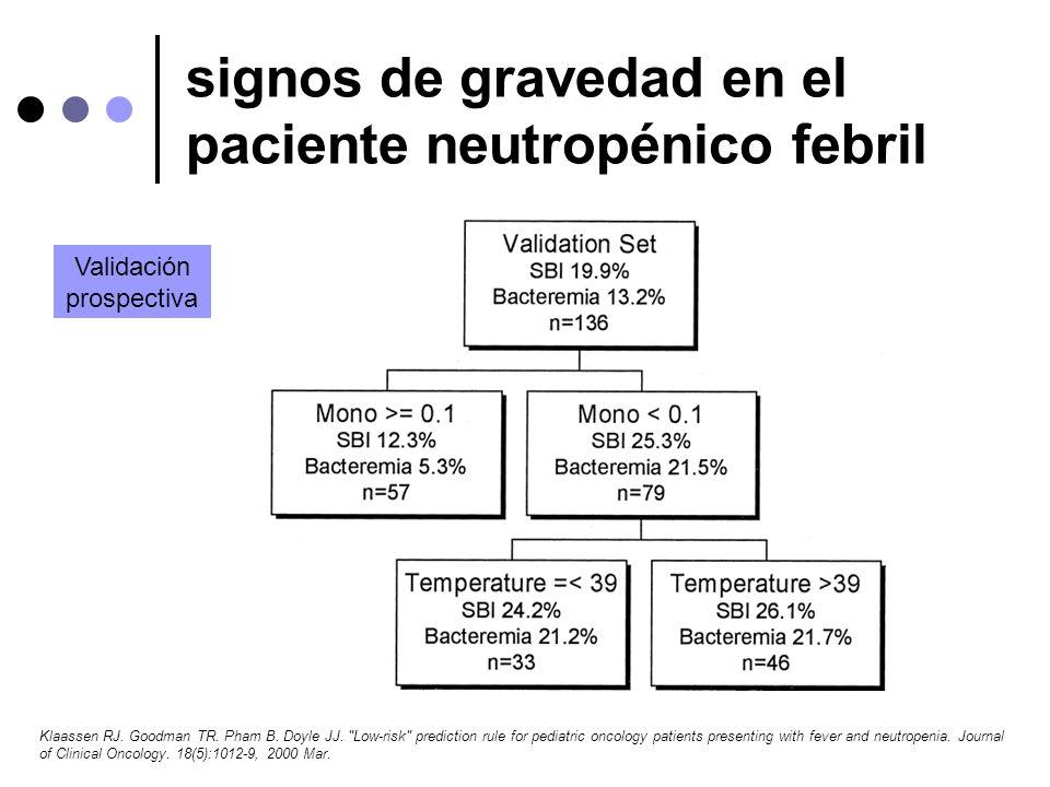 signos de gravedad en el paciente neutropénico febril Klaassen RJ. Goodman TR. Pham B. Doyle JJ.
