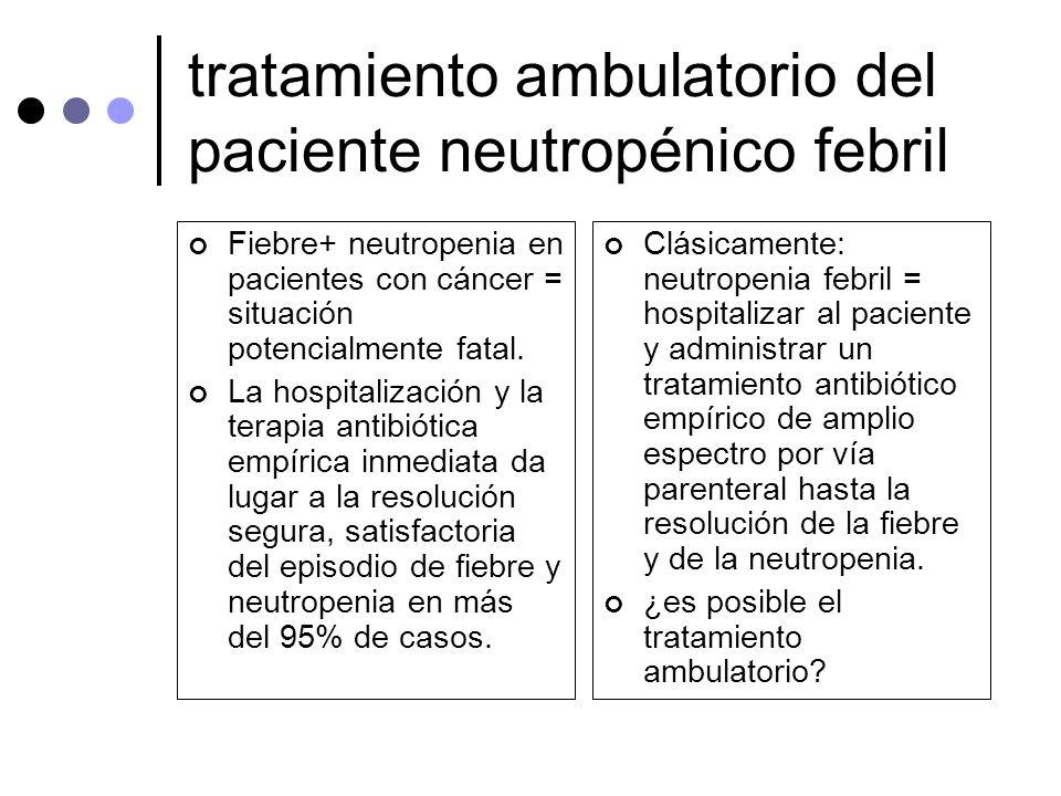 tratamiento ambulatorio del paciente neutropénico febril Fiebre+ neutropenia en pacientes con cáncer = situación potencialmente fatal. La hospitalizac