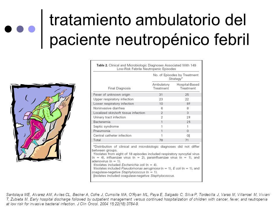 tratamiento ambulatorio del paciente neutropénico febril Santolaya ME, Alvarez AM, Aviles CL, Becker A, Cofre J, Cumsille MA, O'Ryan ML, Paya E, Salga