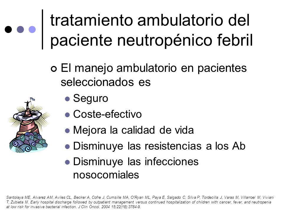 tratamiento ambulatorio del paciente neutropénico febril El manejo ambulatorio en pacientes seleccionados es Seguro Coste-efectivo Mejora la calidad d