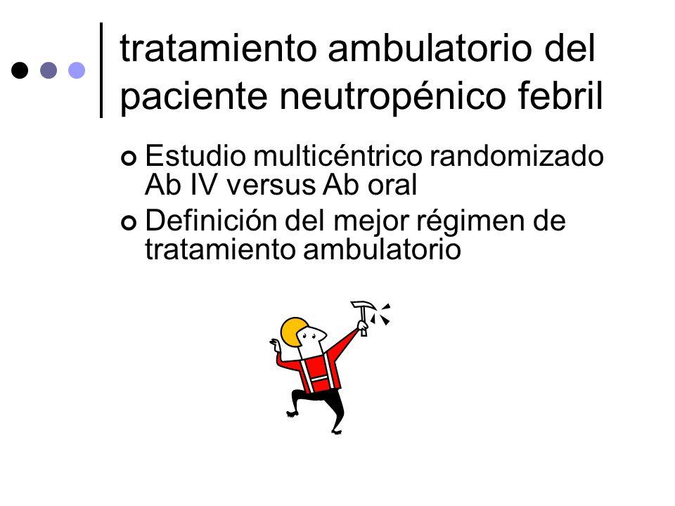 tratamiento ambulatorio del paciente neutropénico febril Estudio multicéntrico randomizado Ab IV versus Ab oral Definición del mejor régimen de tratam