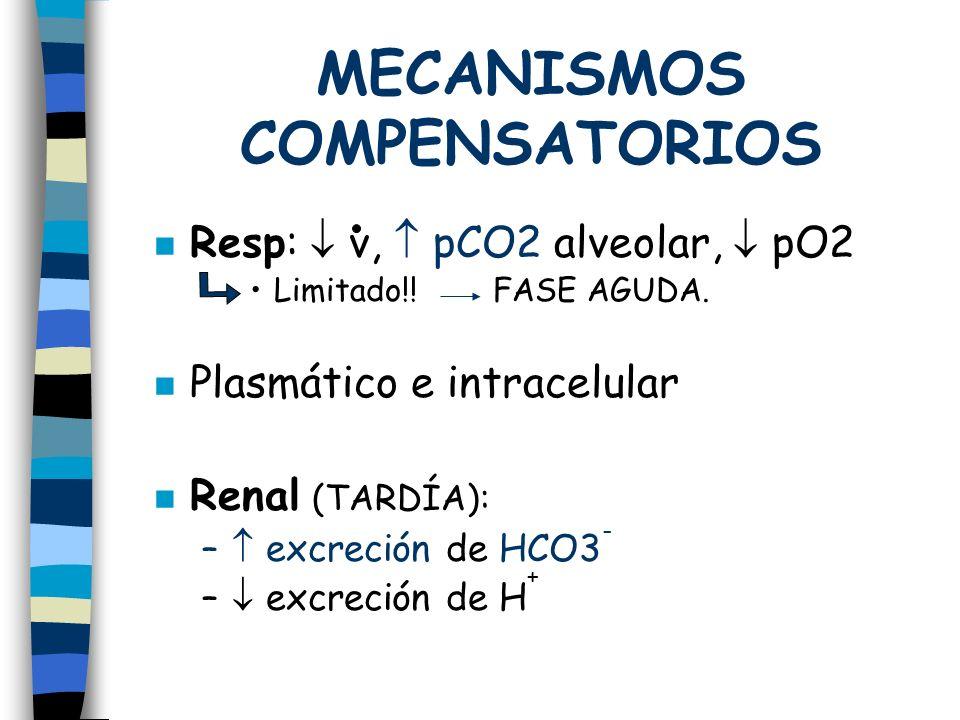 MECANISMOS COMPENSATORIOS n Resp: v, pCO2 alveolar, pO2 Limitado!! FASE AGUDA. n Plasmático e intracelular Renal (TARDÍA): – excreción de HCO3 - – exc