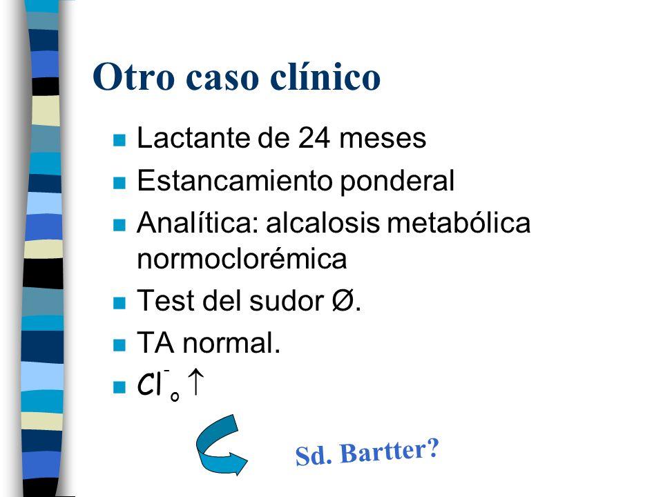Otro caso clínico n Lactante de 24 meses n Estancamiento ponderal n Analítica: alcalosis metabólica normoclorémica n Test del sudor Ø. n TA normal. Cl