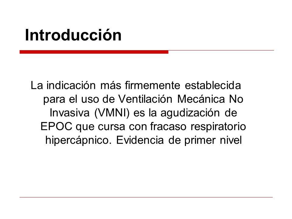 Metodología Si mejoría pH y/o PCO2: seguir Si empeoramiento: suspensión y IOT si el paciente es candidato Si igual: suspensión o reajuste de parámetros/material y repetir el proceso Nuevo control gasométrico tras 4-8 h VMNI