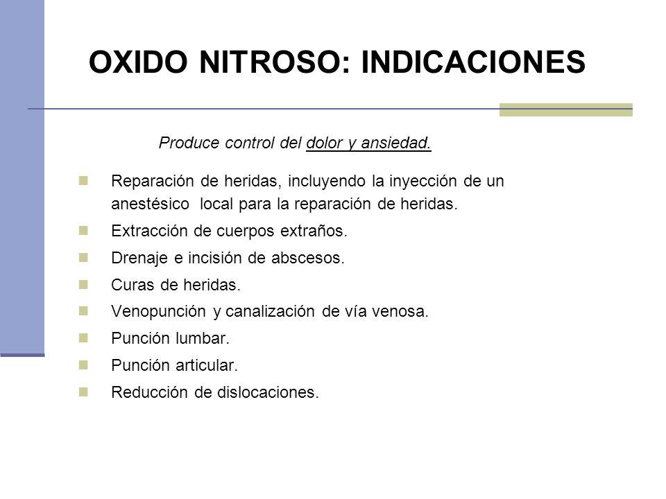 OXIDO NITROSO: INDICACIONES Reparación de heridas, incluyendo la inyección de un anestésico local para la reparación de heridas. Extracción de cuerpos
