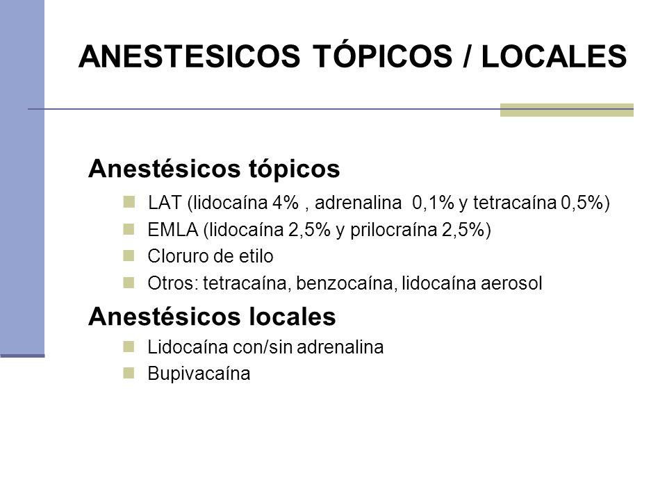 ANESTESICOS TÓPICOS / LOCALES Anestésicos tópicos LAT (lidocaína 4%, adrenalina 0,1% y tetracaína 0,5%) EMLA (lidocaína 2,5% y prilocraína 2,5%) Cloru