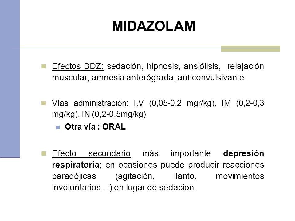MIDAZOLAM Efectos BDZ: sedación, hipnosis, ansiólisis, relajación muscular, amnesia anterógrada, anticonvulsivante. Vías administración: I.V (0,05-0,2
