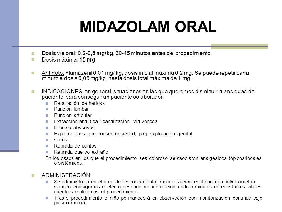 MIDAZOLAM ORAL Dosis vía oral: 0,2-0,5 mg/kg, 30-45 minutos antes del procedimiento. Dosis máxima: 15 mg Antídoto: Flumazenil 0,01 mg/ kg, dosis inici