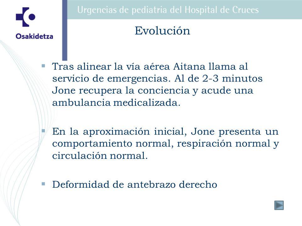 Evolución Tras alinear la vía aérea Aitana llama al servicio de emergencias. Al de 2-3 minutos Jone recupera la conciencia y acude una ambulancia medi