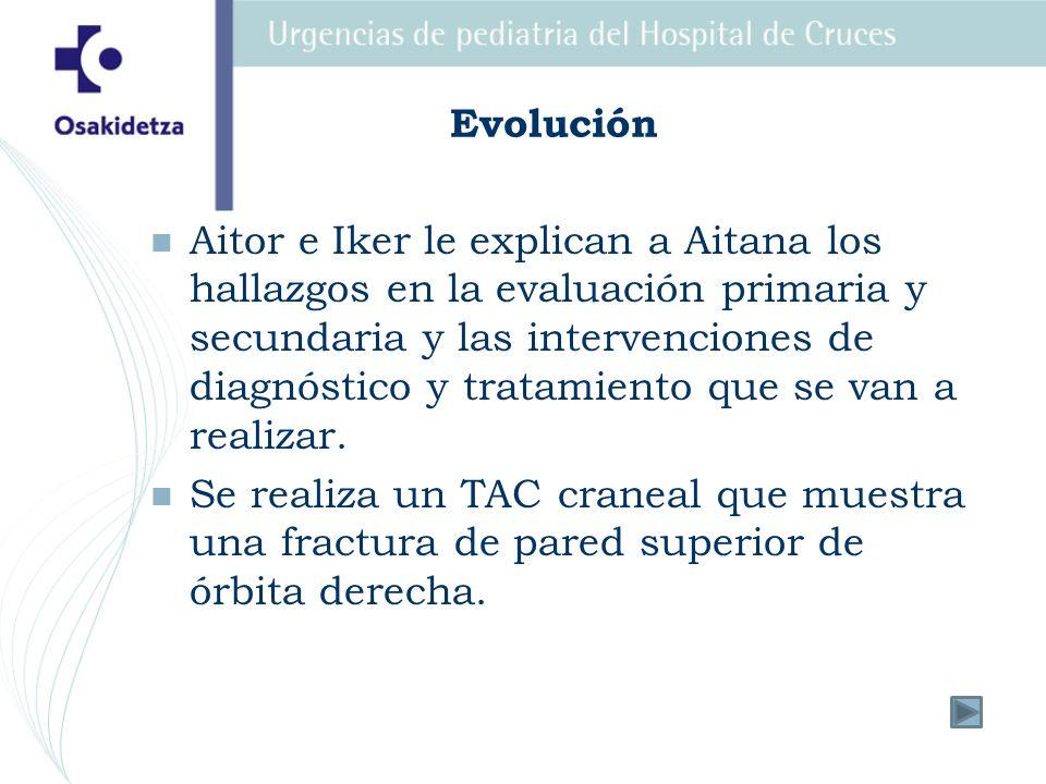 Evolución Aitor e Iker le explican a Aitana los hallazgos en la evaluación primaria y secundaria y las intervenciones de diagnóstico y tratamiento que