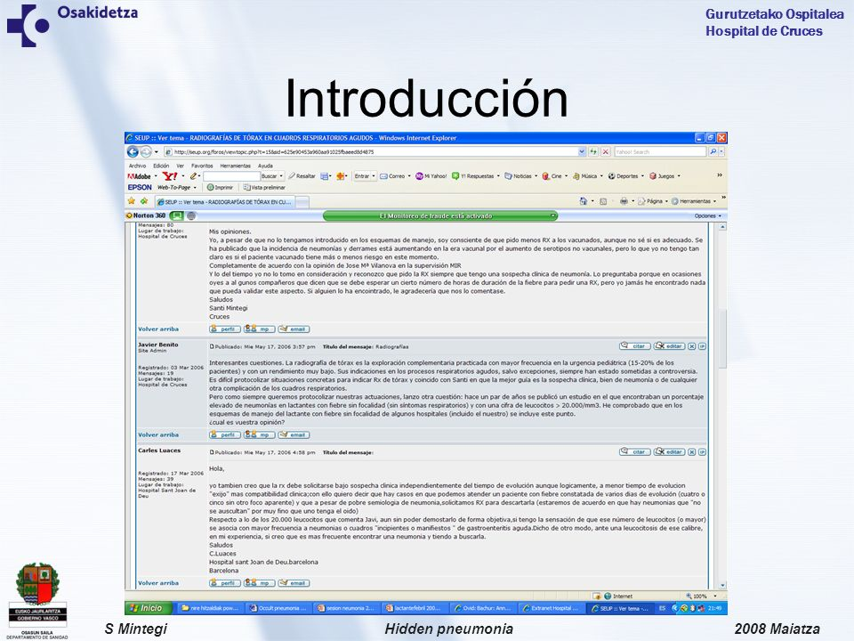 2008 MaiatzaHidden pneumoniaS Mintegi Gurutzetako Ospitalea Hospital de Cruces Introducción