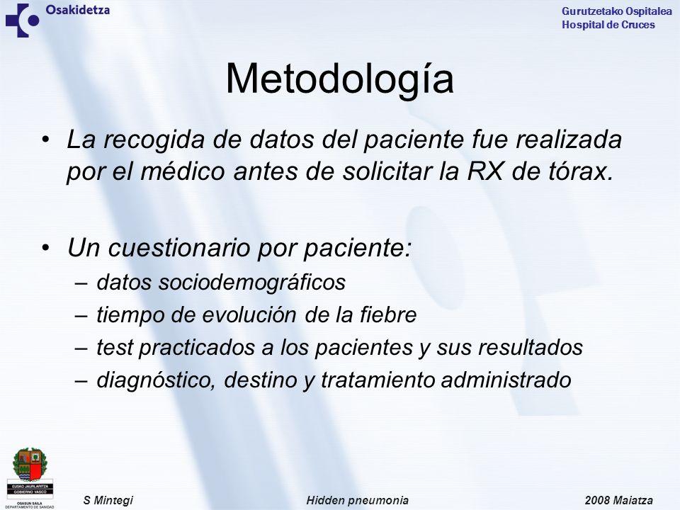 2008 MaiatzaHidden pneumoniaS Mintegi Gurutzetako Ospitalea Hospital de Cruces La recogida de datos del paciente fue realizada por el médico antes de solicitar la RX de tórax.