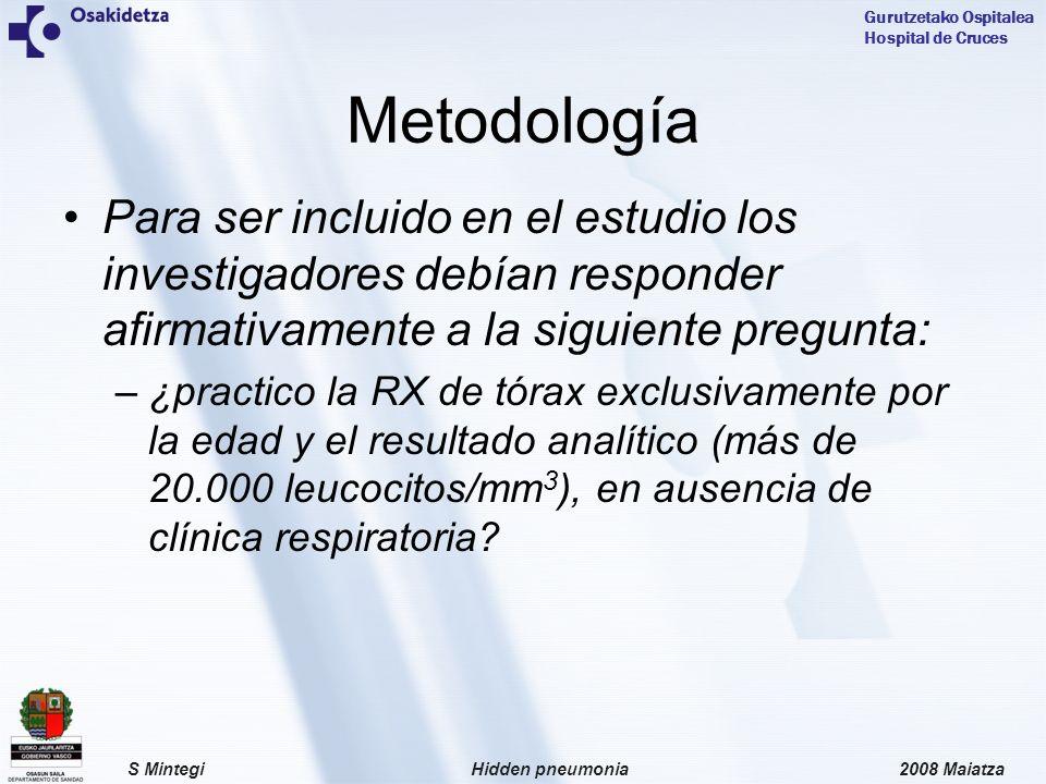 2008 MaiatzaHidden pneumoniaS Mintegi Gurutzetako Ospitalea Hospital de Cruces Para ser incluido en el estudio los investigadores debían responder afirmativamente a la siguiente pregunta: –¿practico la RX de tórax exclusivamente por la edad y el resultado analítico (más de 20.000 leucocitos/mm 3 ), en ausencia de clínica respiratoria.