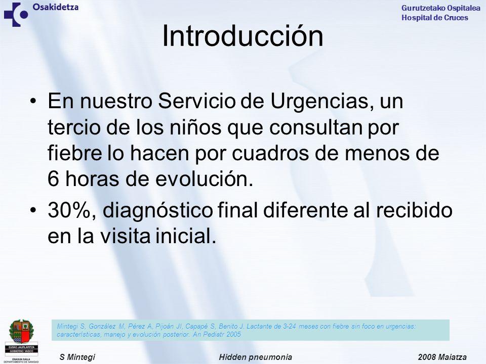 2008 MaiatzaHidden pneumoniaS Mintegi Gurutzetako Ospitalea Hospital de Cruces En nuestro Servicio de Urgencias, un tercio de los niños que consultan por fiebre lo hacen por cuadros de menos de 6 horas de evolución.