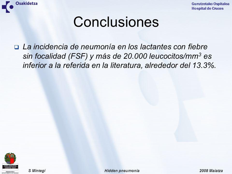 2008 MaiatzaHidden pneumoniaS Mintegi Gurutzetako Ospitalea Hospital de Cruces La incidencia de neumonía en los lactantes con fiebre sin focalidad (FSF) y más de 20.000 leucocitos/mm 3 es inferior a la referida en la literatura, alrededor del 13.3%.