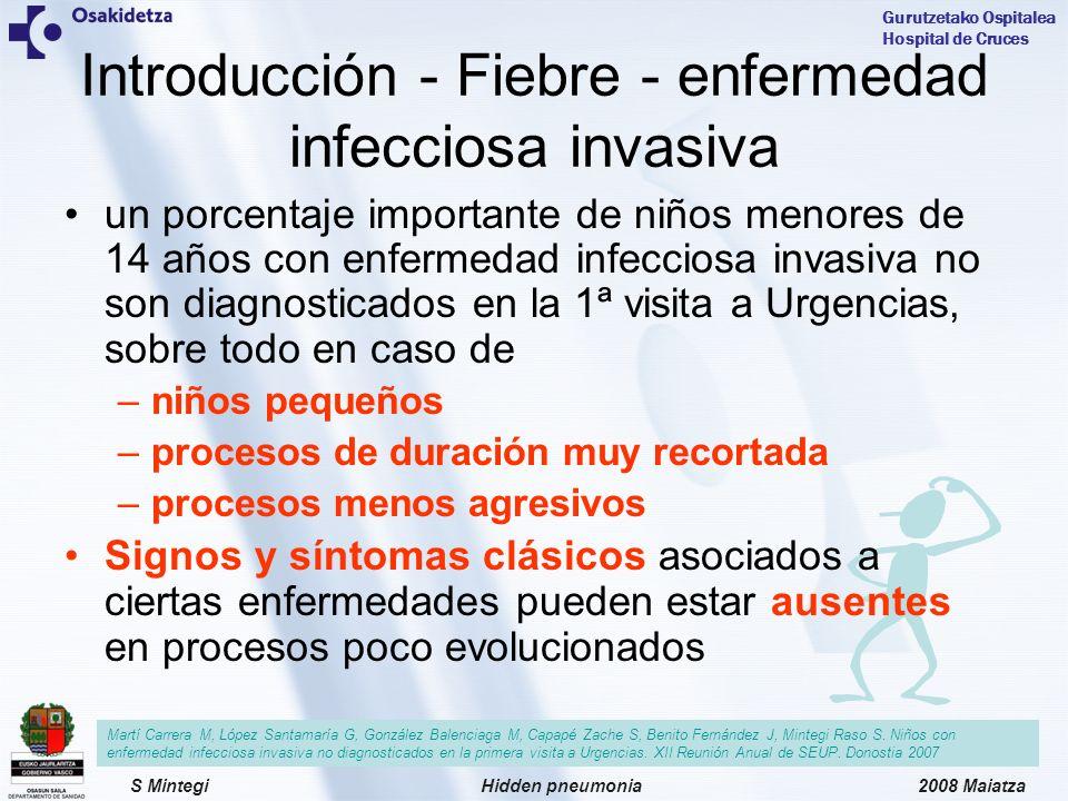 2008 MaiatzaHidden pneumoniaS Mintegi Gurutzetako Ospitalea Hospital de Cruces Limitaciones Registro de datos Interpretación radiográfica Tamaño muestral