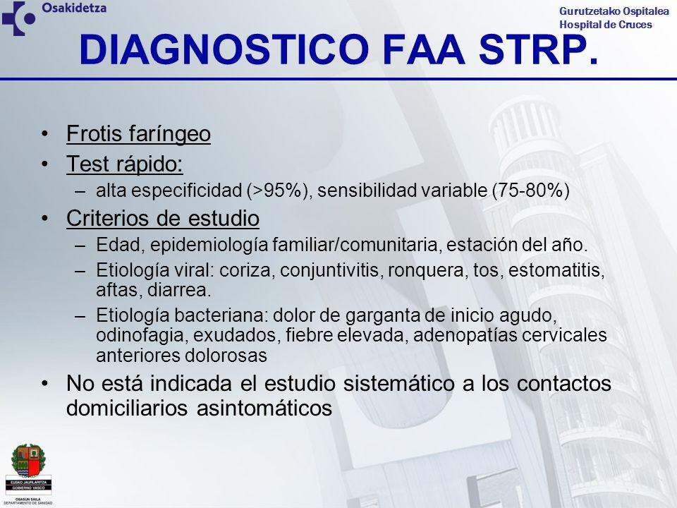 Gurutzetako Ospitalea Hospital de Cruces DIAGNOSTICO FAA STRP. Frotis faríngeo Test rápido: –alta especificidad (>95%), sensibilidad variable (75-80%)
