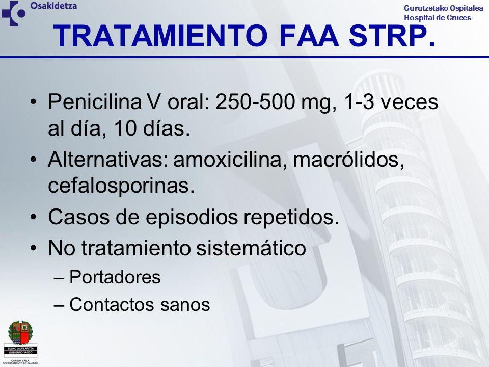 Gurutzetako Ospitalea Hospital de Cruces TRATAMIENTO FAA STRP. Penicilina V oral: 250-500 mg, 1-3 veces al día, 10 días. Alternativas: amoxicilina, ma