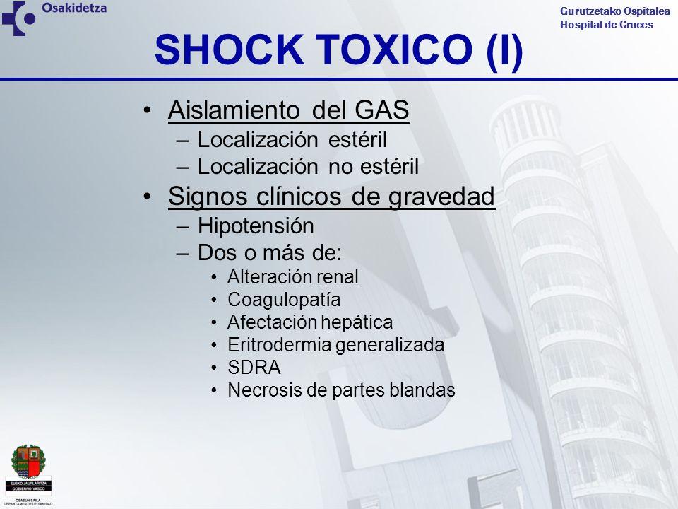 Gurutzetako Ospitalea Hospital de Cruces SHOCK TOXICO (I) Aislamiento del GAS –Localización estéril –Localización no estéril Signos clínicos de graved
