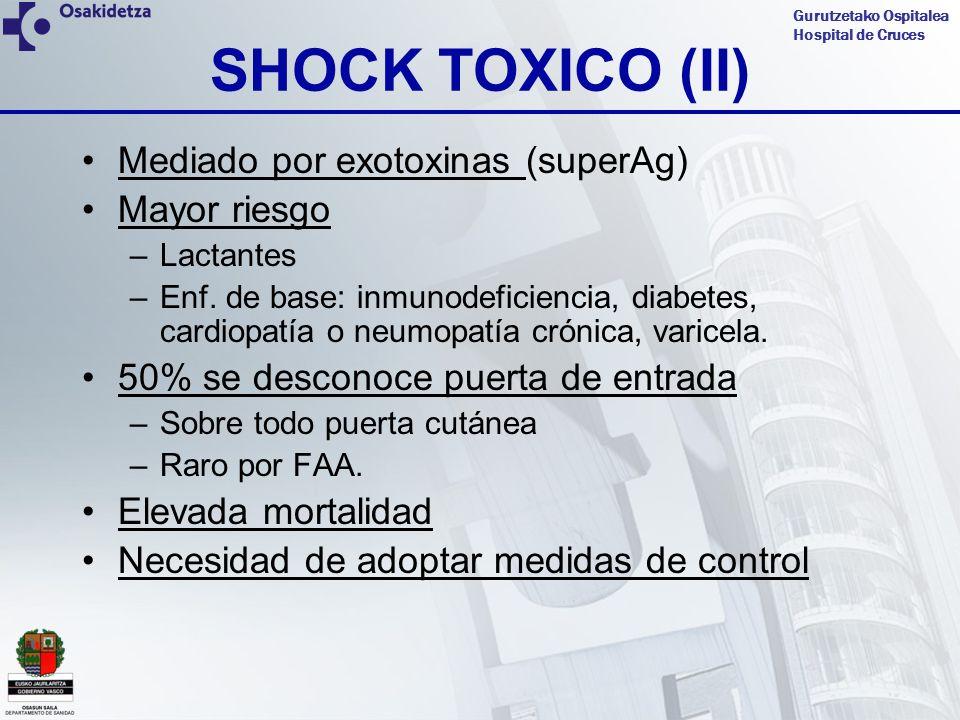 Gurutzetako Ospitalea Hospital de Cruces SHOCK TOXICO (II) Mediado por exotoxinas (superAg) Mayor riesgo –Lactantes –Enf. de base: inmunodeficiencia,