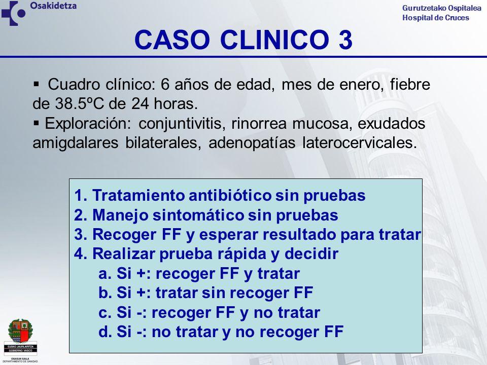 Gurutzetako Ospitalea Hospital de Cruces CASO CLINICO 3 Cuadro clínico: 6 años de edad, mes de enero, fiebre de 38.5ºC de 24 horas. Exploración: conju