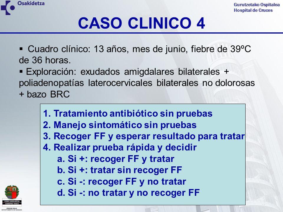 Gurutzetako Ospitalea Hospital de Cruces CASO CLINICO 4 Cuadro clínico: 13 años, mes de junio, fiebre de 39ºC de 36 horas. Exploración: exudados amigd