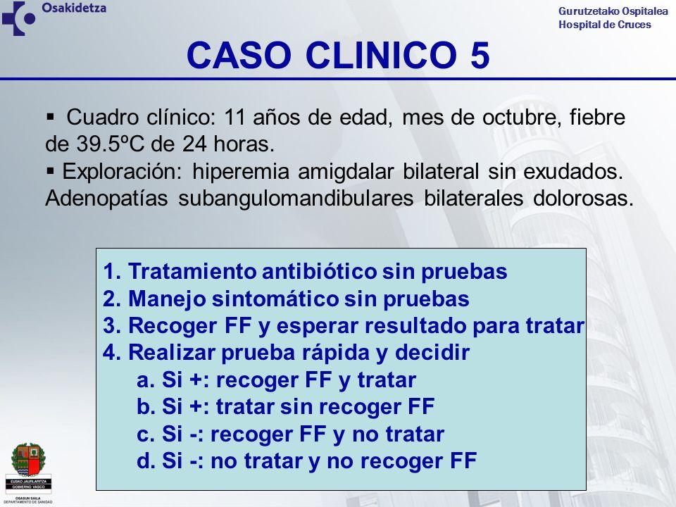Gurutzetako Ospitalea Hospital de Cruces CASO CLINICO 5 Cuadro clínico: 11 años de edad, mes de octubre, fiebre de 39.5ºC de 24 horas. Exploración: hi