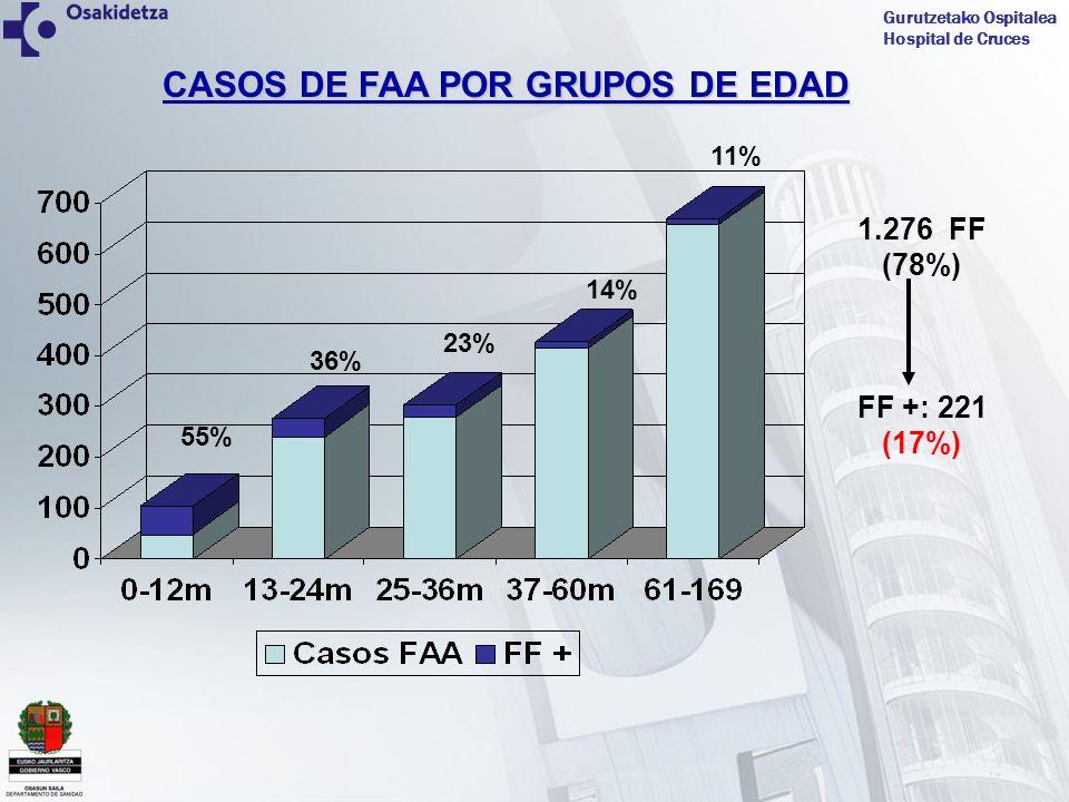 Gurutzetako Ospitalea Hospital de Cruces CASOS DE FF+ POR GRUPOS DE EDAD 52% Edad media FAA: 58.29m Edad media FF +: 48.84m Edad media FF - : 64.23m Edad media no FF: 46m 29.5% 5%