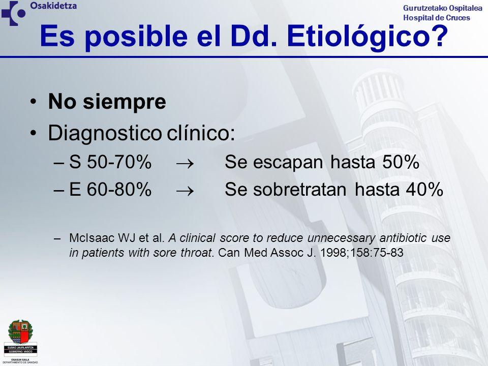Gurutzetako Ospitalea Hospital de Cruces No siempre Diagnostico clínico: –S 50-70% Se escapan hasta 50% –E 60-80% Se sobretratan hasta 40% –McIsaac WJ