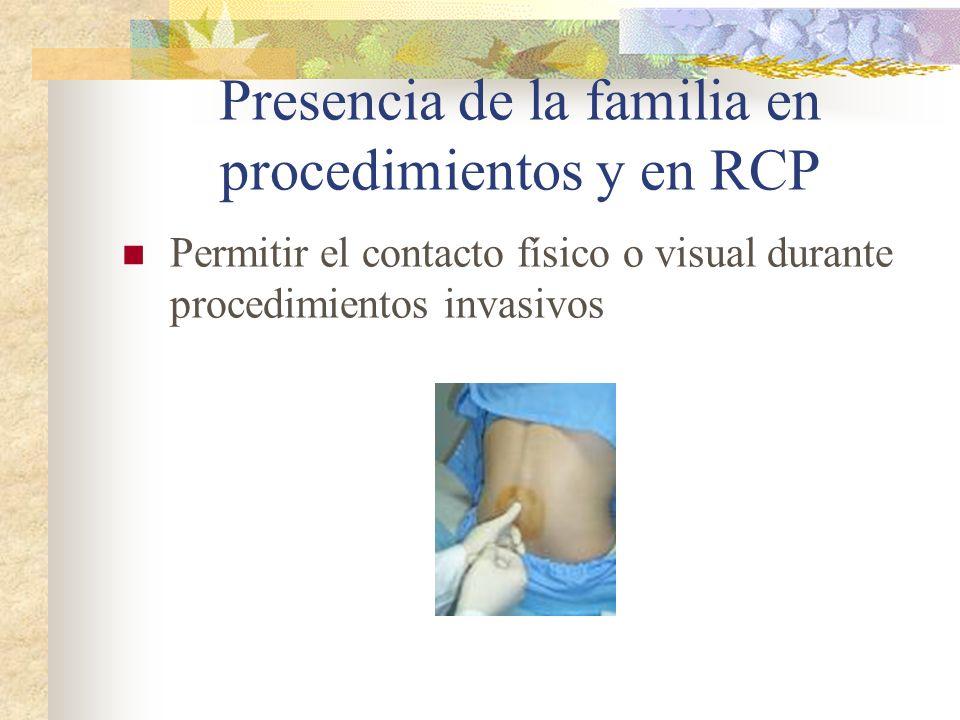 Presencia de la familia en procedimientos y en RCP Permitir el contacto físico o visual durante procedimientos invasivos