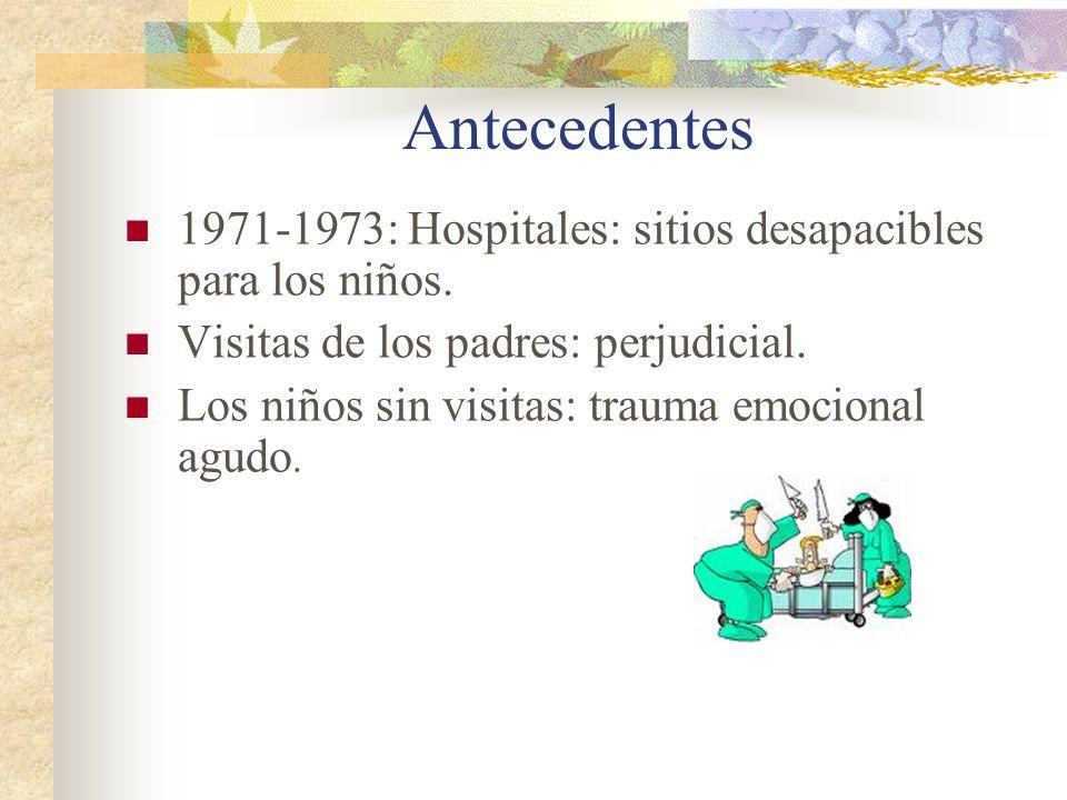 Antecedentes 1971-1973: Hospitales: sitios desapacibles para los niños. Visitas de los padres: perjudicial. Los niños sin visitas: trauma emocional ag