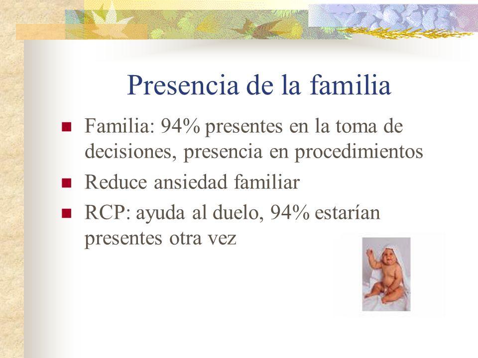 Presencia de la familia Familia: 94% presentes en la toma de decisiones, presencia en procedimientos Reduce ansiedad familiar RCP: ayuda al duelo, 94%