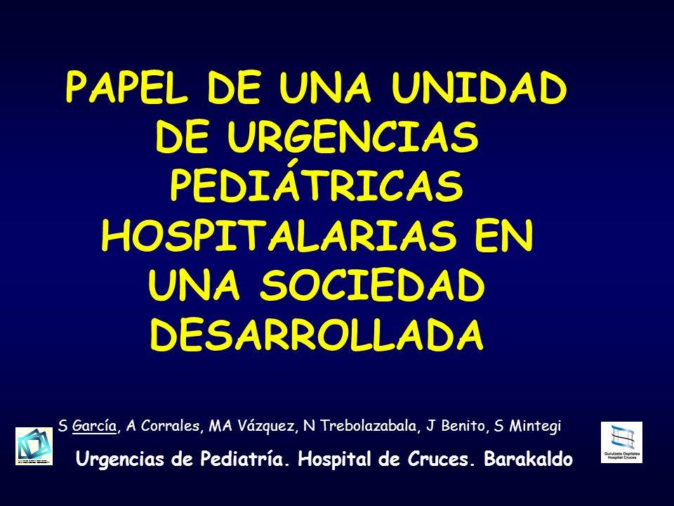 PAPEL DE UNA UNIDAD DE URGENCIAS PEDIÁTRICAS HOSPITALARIAS EN UNA SOCIEDAD DESARROLLADA S García, A Corrales, MA Vázquez, N Trebolazabala, J Benito, S Mintegi Urgencias de Pediatría.