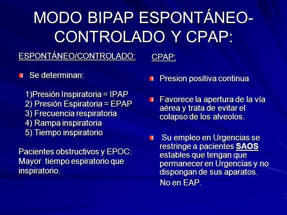 MODO BIPAP ESPONTÁNEO- CONTROLADO Y CPAP: ESPONTÁNEO/CONTROLADO: Se determinan: 1)Presión Inspiratoria = IPAP 1)Presión Inspiratoria = IPAP 2) Presión