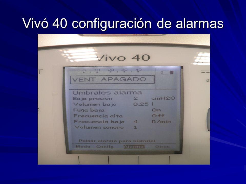 Vivó 40 configuración de alarmas