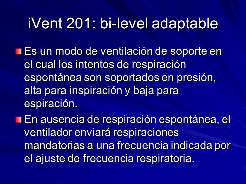 iVent 201: bi-level adaptable Es un modo de ventilación de soporte en el cual los intentos de respiración espontánea son soportados en presión, alta p