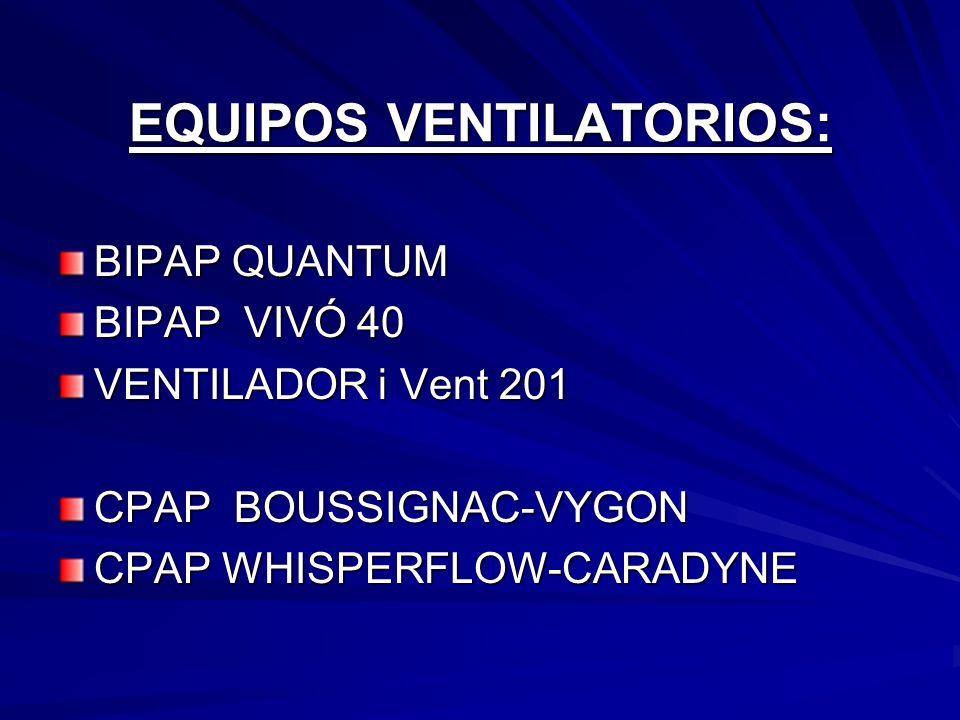 EQUIPOS VENTILATORIOS: BIPAP QUANTUM BIPAP VIVÓ 40 VENTILADOR i Vent 201 CPAP BOUSSIGNAC-VYGON CPAP WHISPERFLOW-CARADYNE