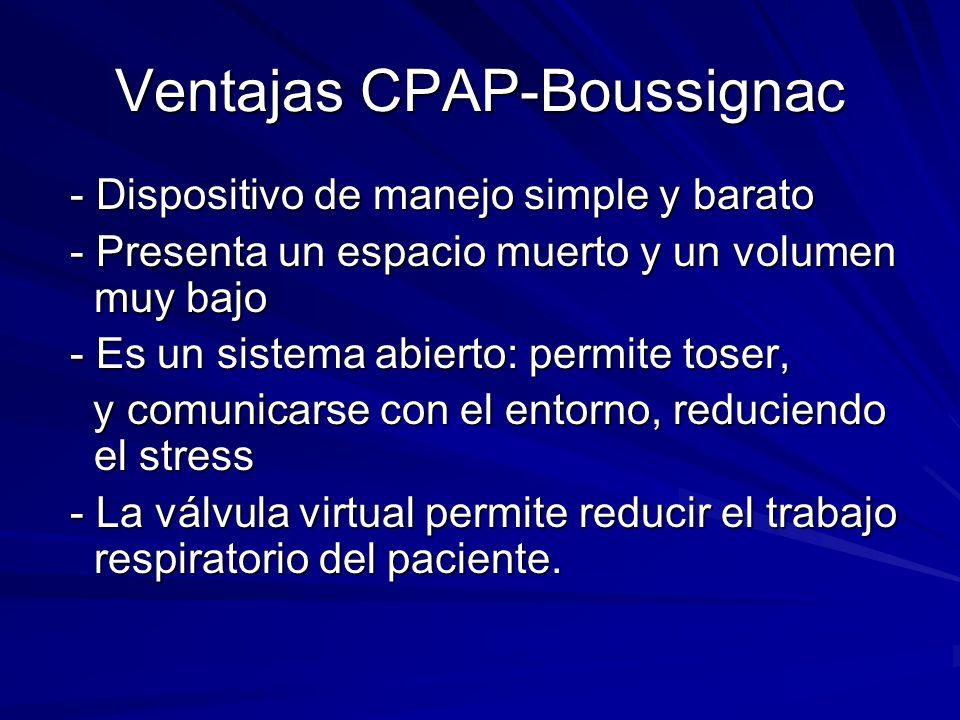 Ventajas CPAP-Boussignac - Dispositivo de manejo simple y barato - Dispositivo de manejo simple y barato - Presenta un espacio muerto y un volumen muy