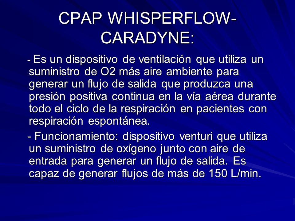 CPAP WHISPERFLOW- CARADYNE: - Es un dispositivo de ventilación que utiliza un suministro de O2 más aire ambiente para generar un flujo de salida que p