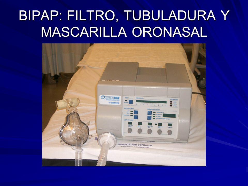 BIPAP: FILTRO, TUBULADURA Y MASCARILLA ORONASAL