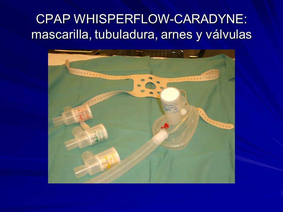 CPAP WHISPERFLOW-CARADYNE: mascarilla, tubuladura, arnes y válvulas
