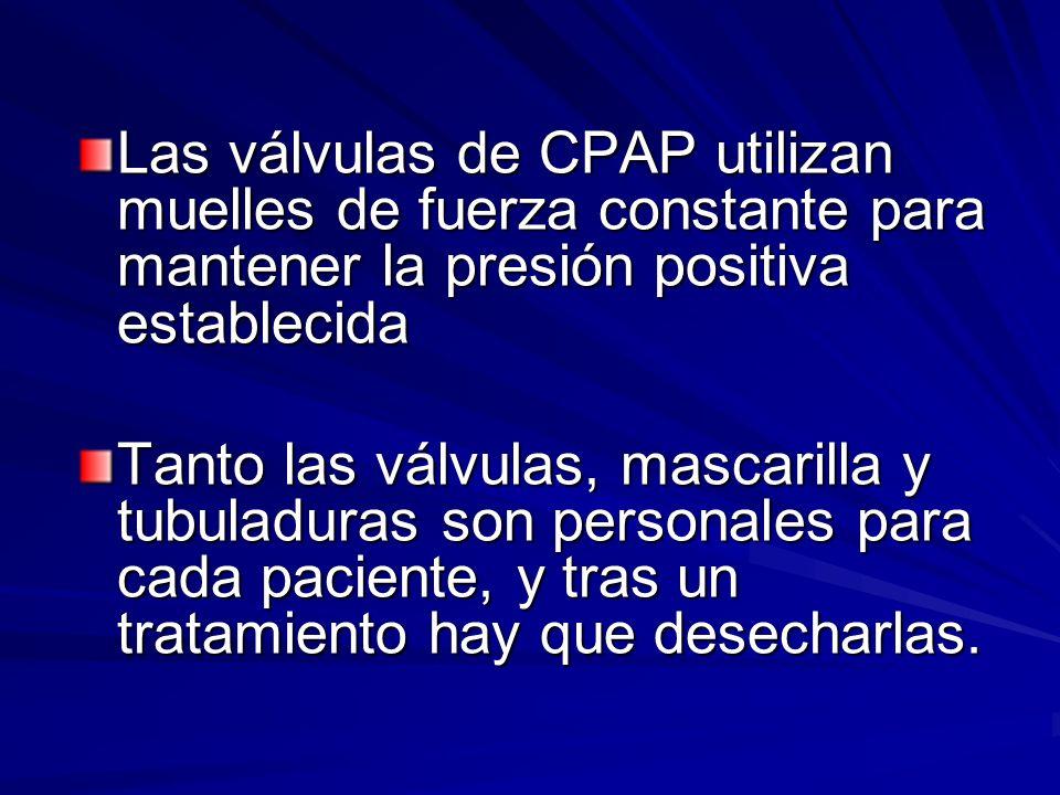 Las válvulas de CPAP utilizan muelles de fuerza constante para mantener la presión positiva establecida Tanto las válvulas, mascarilla y tubuladuras s