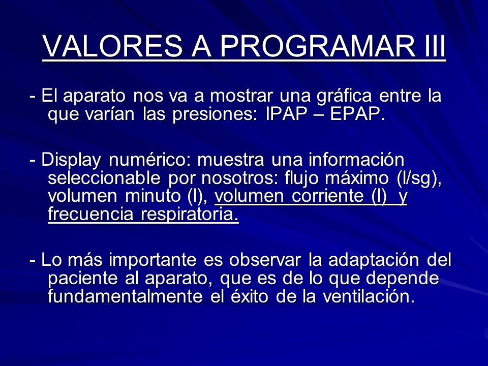 VALORES A PROGRAMAR III - El aparato nos va a mostrar una gráfica entre la que varían las presiones: IPAP – EPAP. - Display numérico: muestra una info