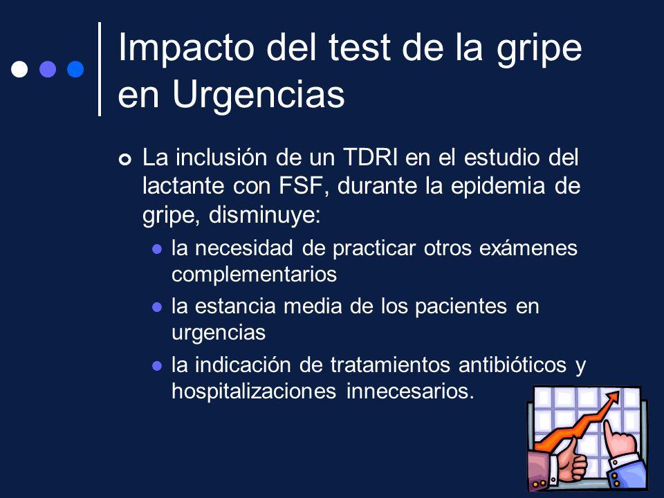 Impacto del test de la gripe en Urgencias La inclusión de un TDRI en el estudio del lactante con FSF, durante la epidemia de gripe, disminuye: la nece