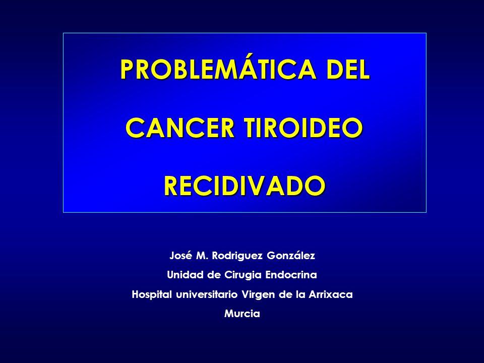PROBLEMÁTICA DEL CANCER TIROIDEO RECIDIVADO José M. Rodriguez González Unidad de Cirugia Endocrina Hospital universitario Virgen de la Arrixaca Murcia