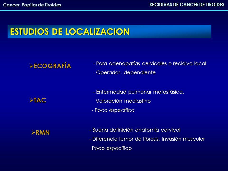ESTUDIOS DE LOCALIZACION RECIDIVAS DE CANCER DE TIROIDES Cancer Papilar de Tiroides ECOGRAFÍA ECOGRAFÍA TAC TAC RMN RMN - Para adenopatías cervicales