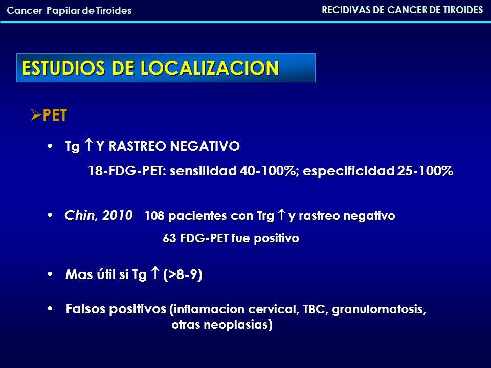 ESTUDIOS DE LOCALIZACION RECIDIVAS DE CANCER DE TIROIDES Cancer Papilar de Tiroides PET PET Tg Y RASTREO NEGATIVO Tg Y RASTREO NEGATIVO 18-FDG-PET: se