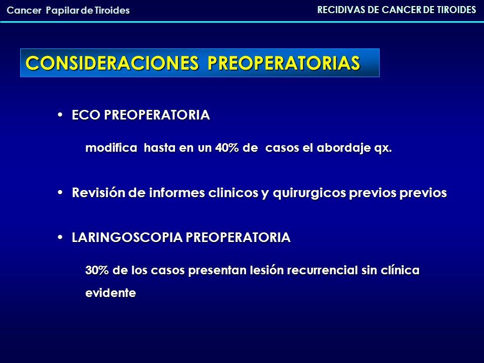CONSIDERACIONES OPERATORIAS POSIBILIDAD DE ABORDAJE LATERAL POSIBILIDAD DE ABORDAJE LATERAL USO DE LA NEUROMONITORIZACION DE NERVIO RECURRENTE Puede disminuir las tasas de complicaciones USO DE LA NEUROMONITORIZACION DE NERVIO RECURRENTE Puede disminuir las tasas de complicaciones ALTA TASA DE COMPLICACIONES secundarias a la qx ALTA TASA DE COMPLICACIONES secundarias a la qx - Lesion recurrencial 6-10% - Hipoparatiroidismo 15-25% RECIDIVAS DE CANCER DE TIROIDES Cancer Papilar de Tiroides