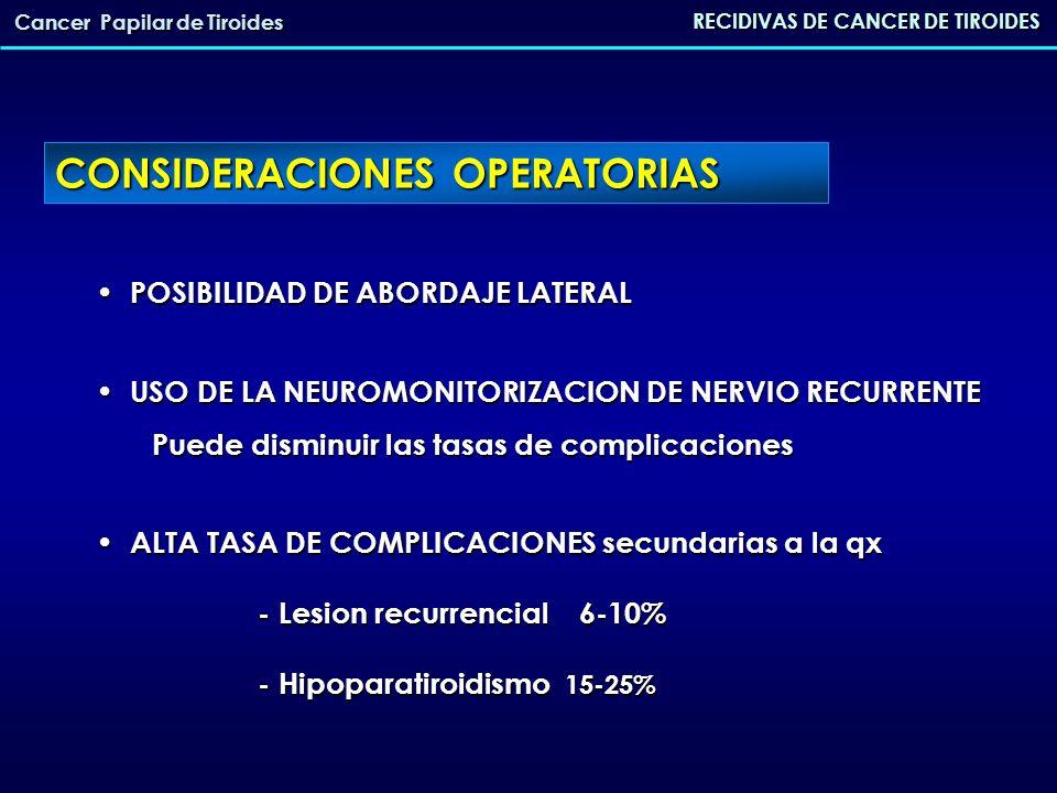 CONSIDERACIONES OPERATORIAS POSIBILIDAD DE ABORDAJE LATERAL POSIBILIDAD DE ABORDAJE LATERAL USO DE LA NEUROMONITORIZACION DE NERVIO RECURRENTE Puede d